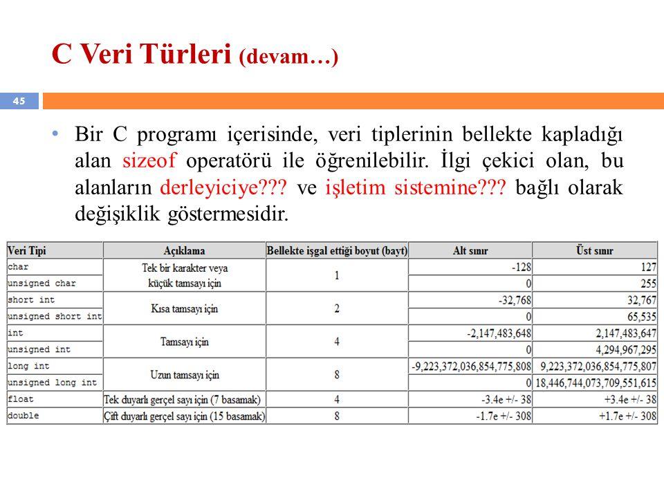 C Veri Türleri (devam…)