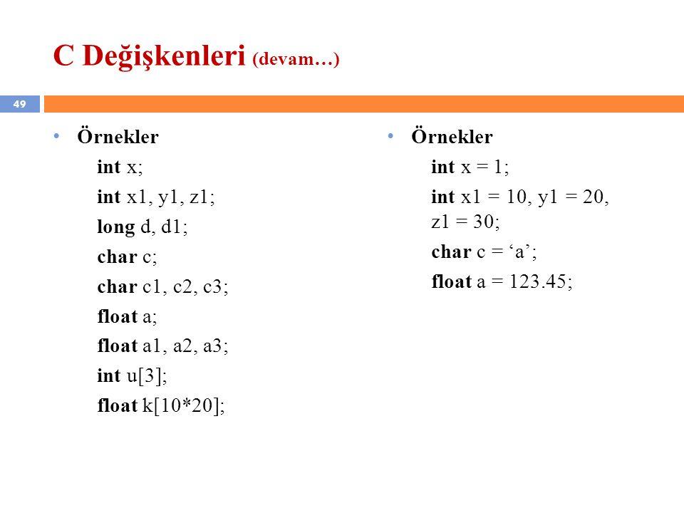 C Değişkenleri (devam…)