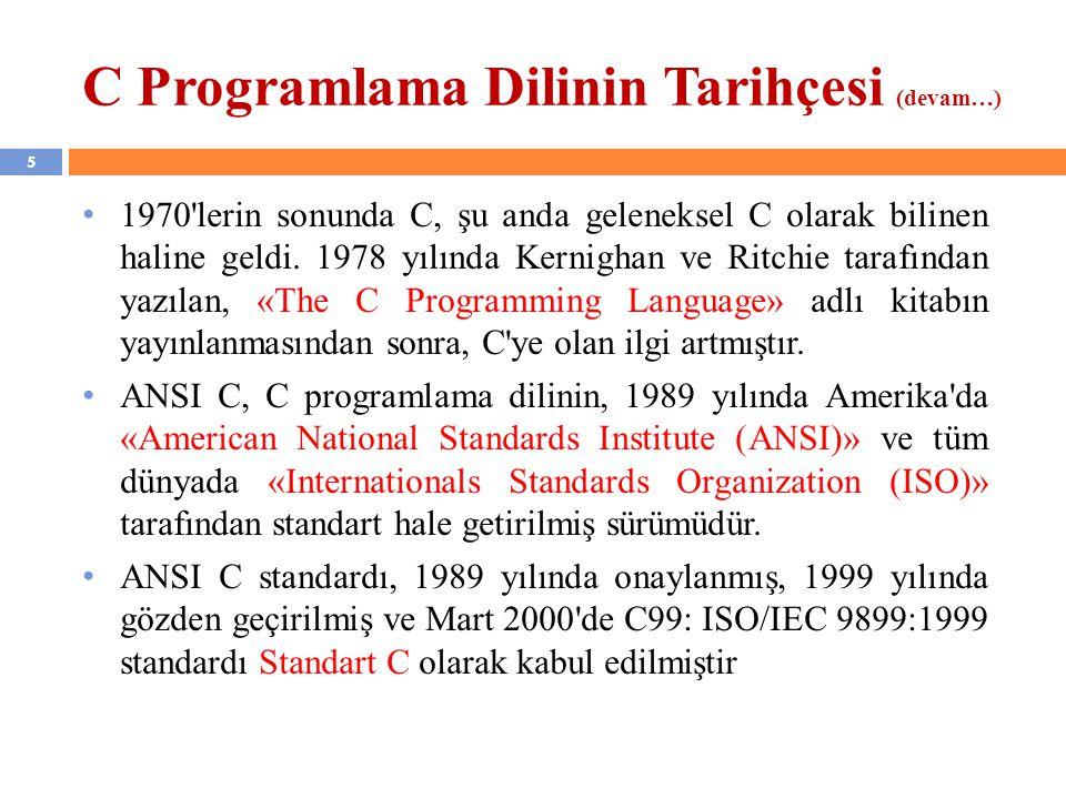 C Programlama Dilinin Tarihçesi (devam…)
