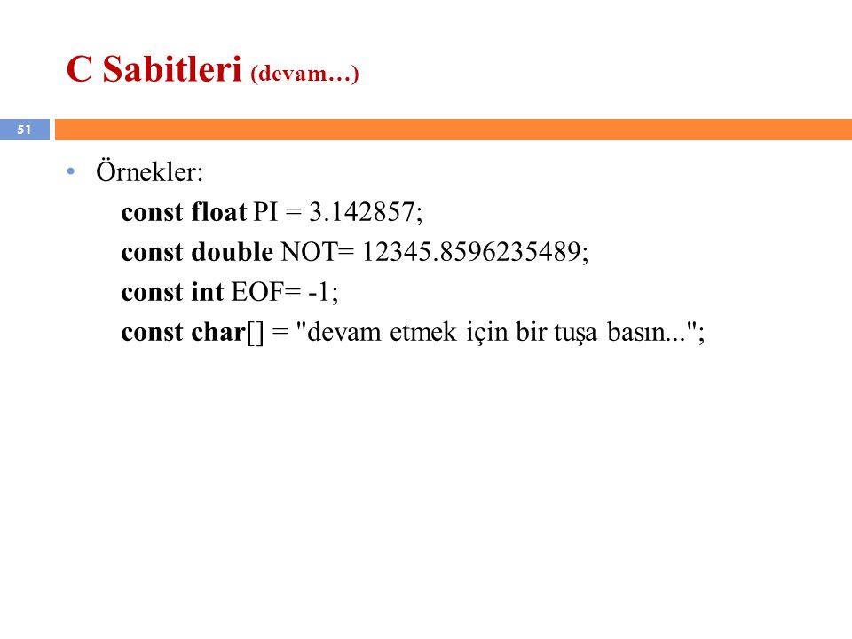 C Sabitleri (devam…) Örnekler: const float PI = 3.142857;
