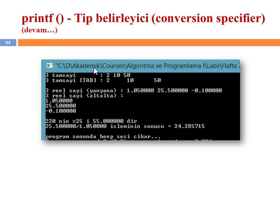 printf () - Tip belirleyici (conversion specifier) (devam…)
