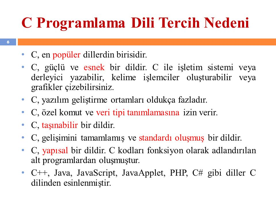 C Programlama Dili Tercih Nedeni