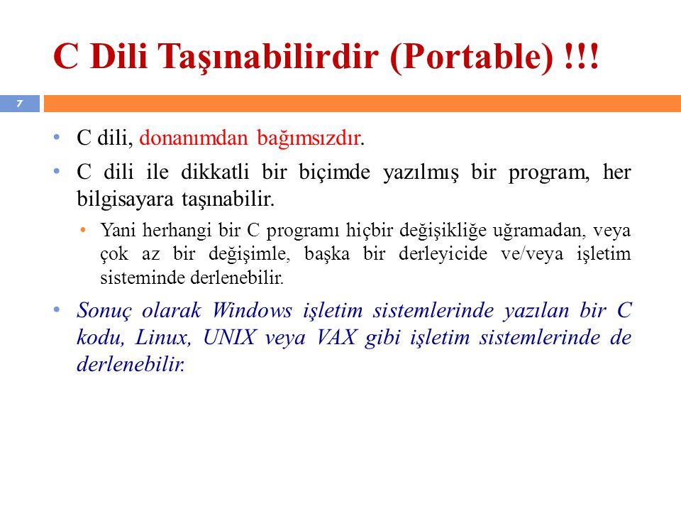C Dili Taşınabilirdir (Portable) !!!
