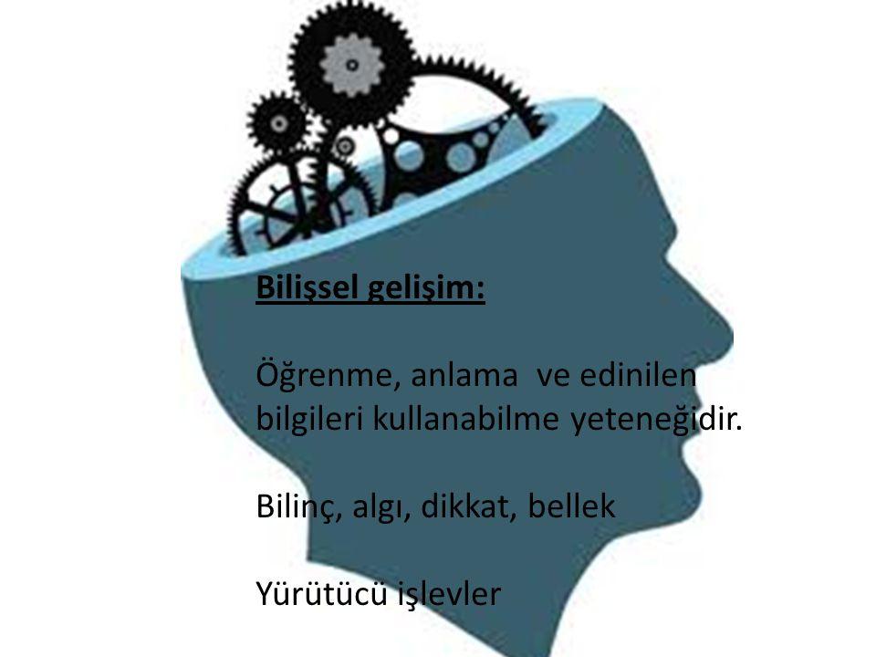 Bilişsel gelişim: Öğrenme, anlama ve edinilen. bilgileri kullanabilme yeteneğidir. Bilinç, algı, dikkat, bellek.