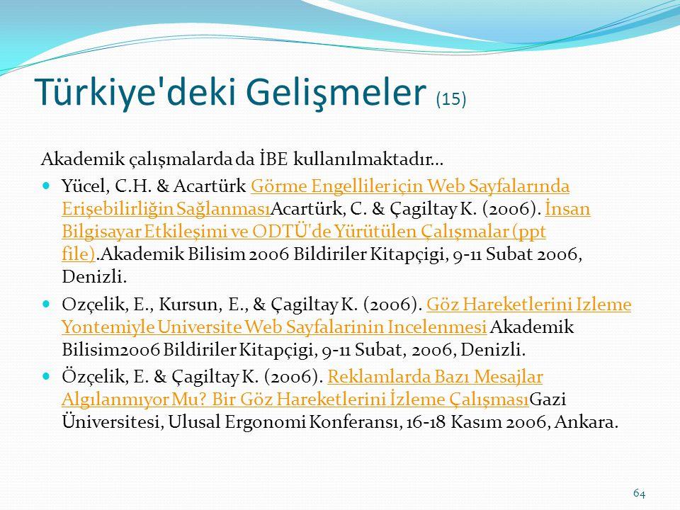 Türkiye deki Gelişmeler (15)