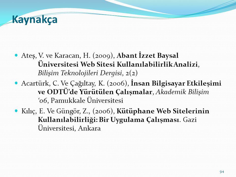 Kaynakça Ateş, V. ve Karacan, H. (2009), Abant İzzet Baysal Üniversitesi Web Sitesi Kullanılabilirlik Analizi, Bilişim Teknolojileri Dergisi, 2(2)