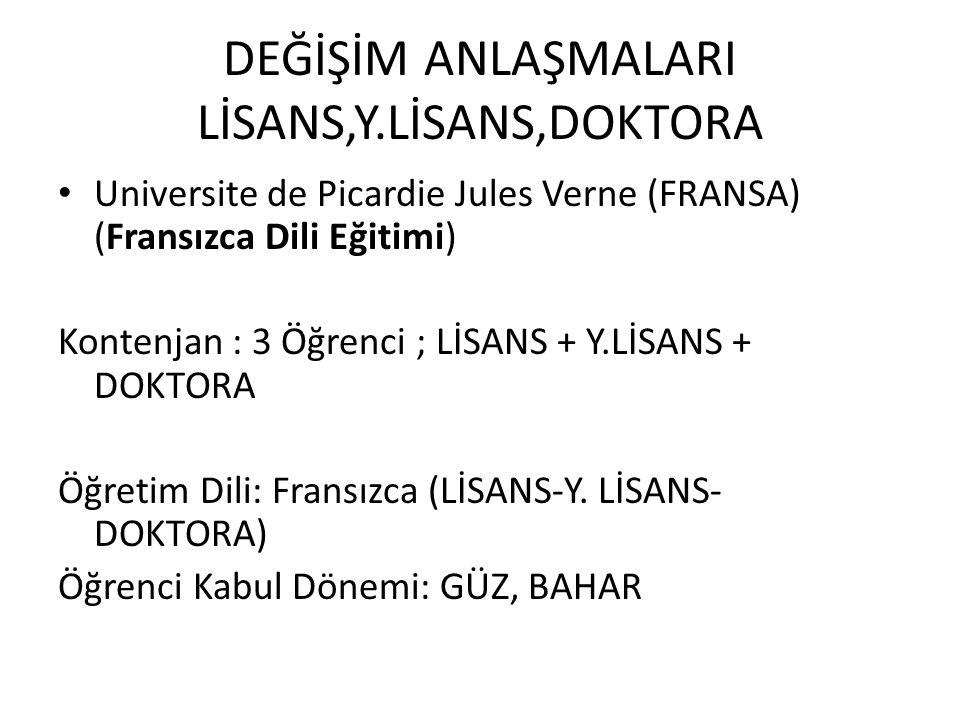 DEĞİŞİM ANLAŞMALARI LİSANS,Y.LİSANS,DOKTORA