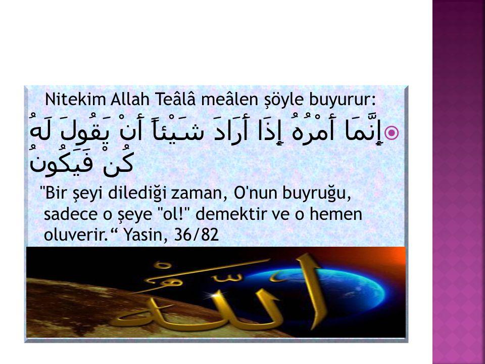 Nitekim Allah Teâlâ meâlen şöyle buyurur: