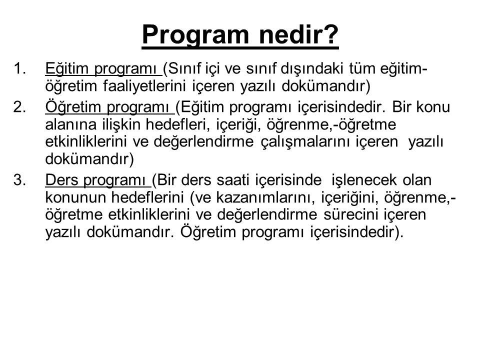 Program nedir Eğitim programı (Sınıf içi ve sınıf dışındaki tüm eğitim-öğretim faaliyetlerini içeren yazılı dokümandır)