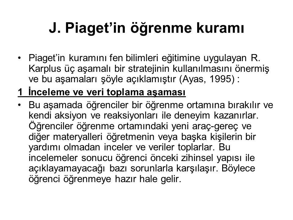 J. Piaget'in öğrenme kuramı