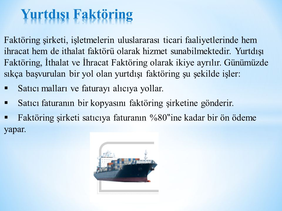 Yurtdışı Faktöring