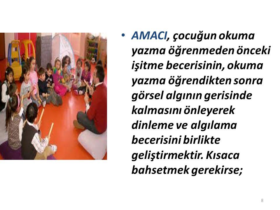 AMACI, çocuğun okuma yazma öğrenmeden önceki işitme becerisinin, okuma yazma öğrendikten sonra görsel algının gerisinde kalmasını önleyerek dinleme ve algılama becerisini birlikte geliştirmektir.