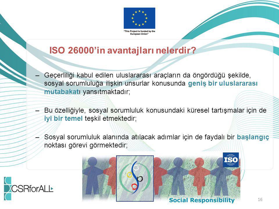 ISO 26000'in avantajları nelerdir