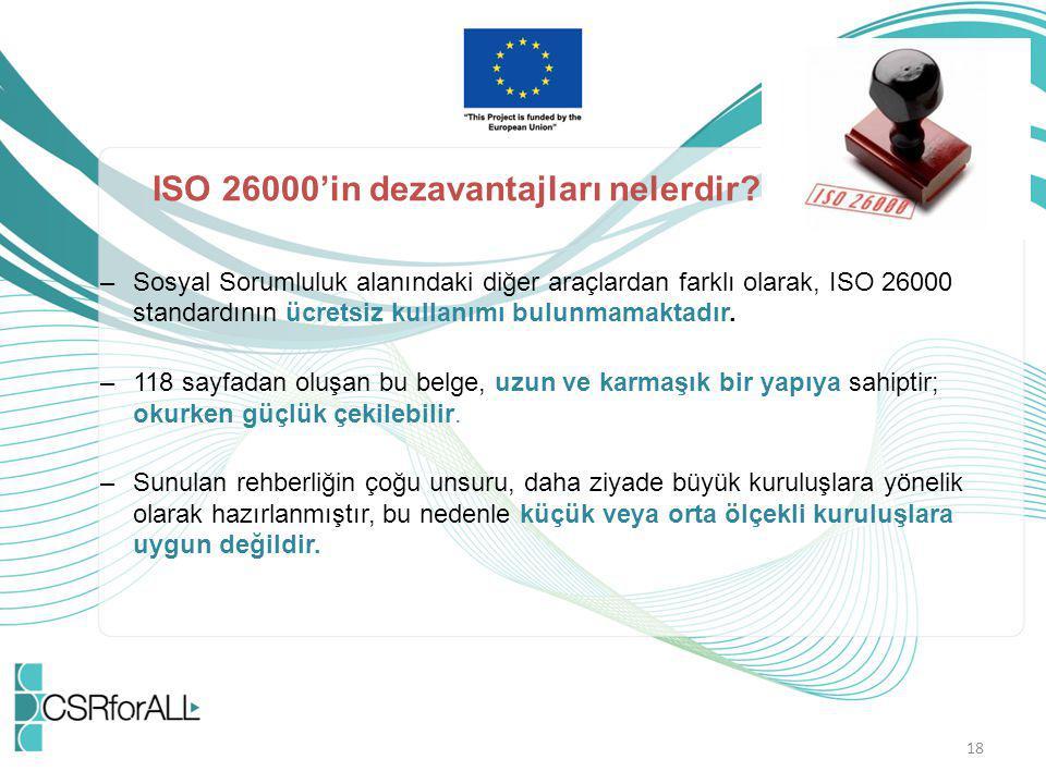 ISO 26000'in dezavantajları nelerdir
