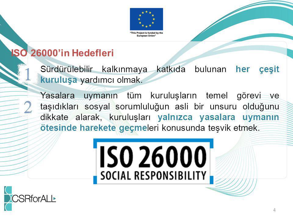 ISO 26000'in Hedefleri Sürdürülebilir kalkınmaya katkıda bulunan her çeşit kuruluşa yardımcı olmak.