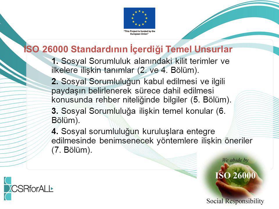 ISO 26000 Standardının İçerdiği Temel Unsurlar