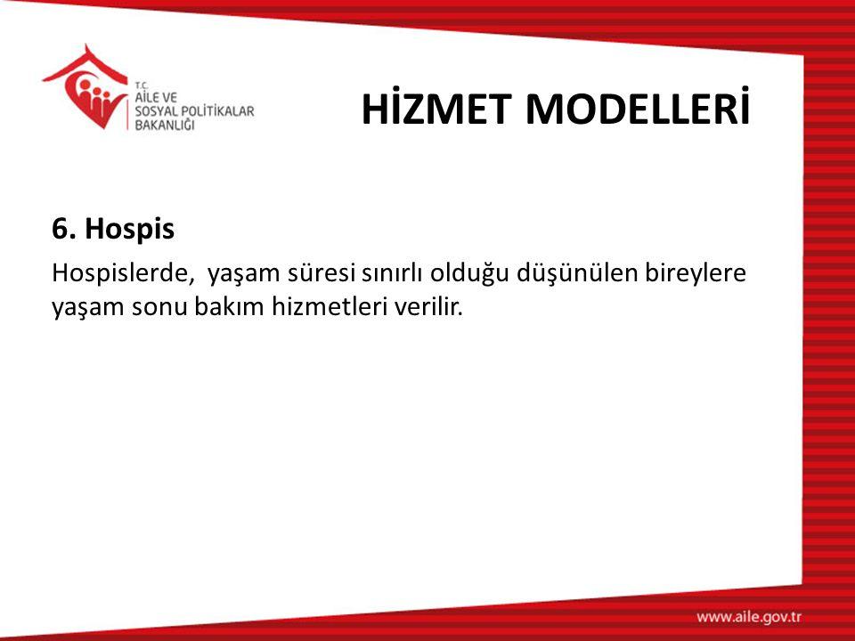 HİZMET MODELLERİ 6. Hospis