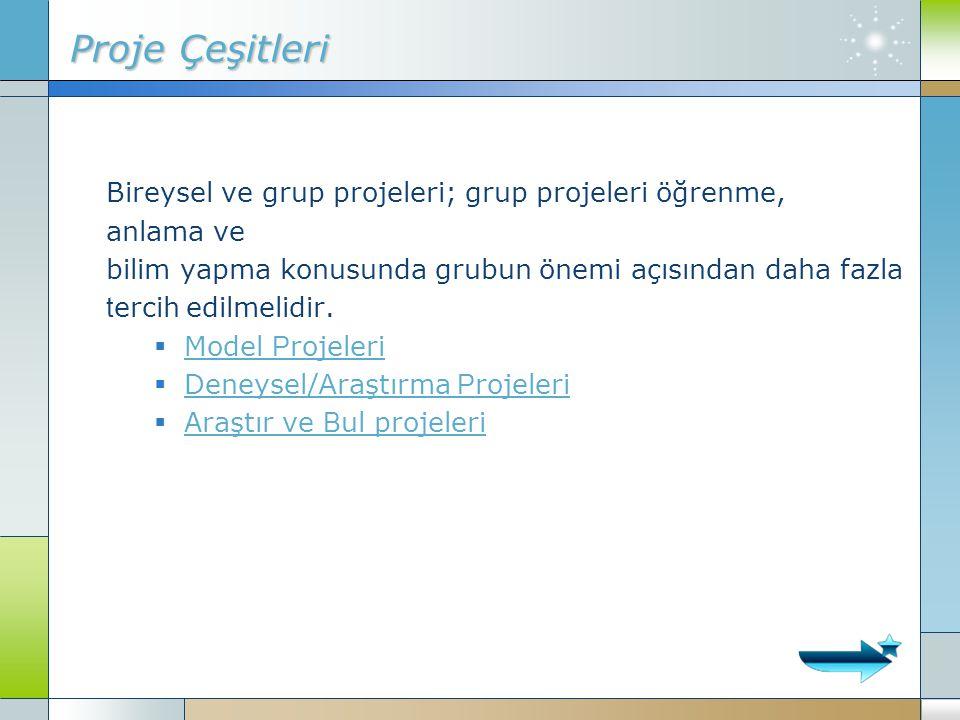 Proje Çeşitleri Bireysel ve grup projeleri; grup projeleri öğrenme,