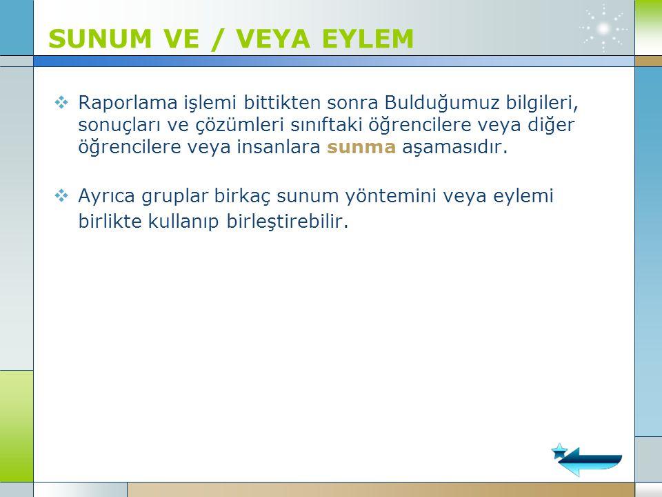 SUNUM VE / VEYA EYLEM