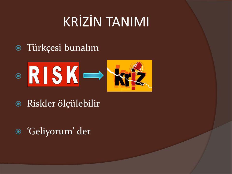 KRİZİN TANIMI Türkçesi bunalım Riskler ölçülebilir 'Geliyorum' der 3