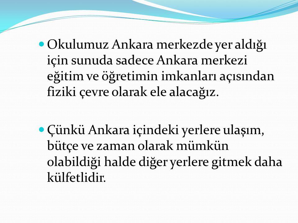 Okulumuz Ankara merkezde yer aldığı için sunuda sadece Ankara merkezi eğitim ve öğretimin imkanları açısından fiziki çevre olarak ele alacağız.