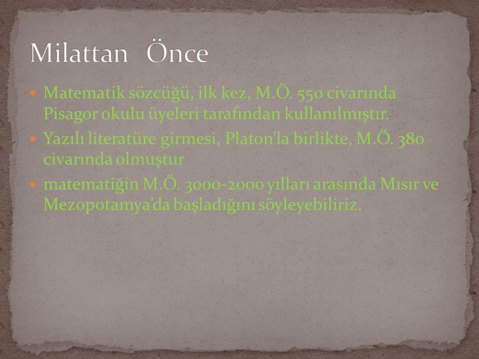 Milattan Önce Matematik sözcüğü, ilk kez, M.Ö. 550 civarında Pisagor okulu üyeleri tarafından kullanılmıştır.