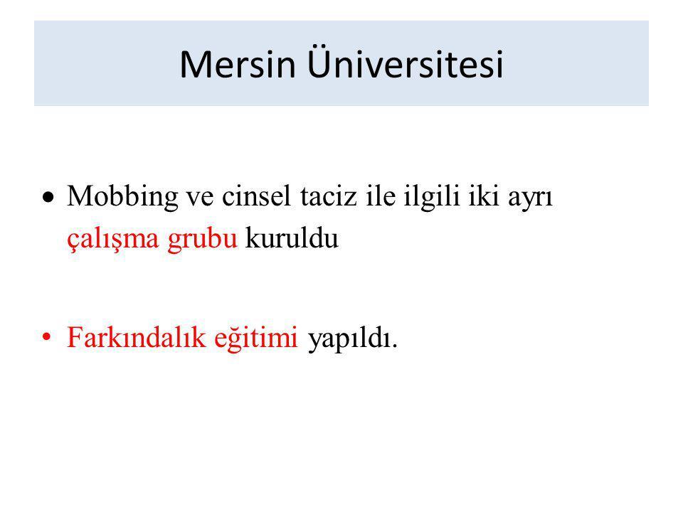 Mersin Üniversitesi Mobbing ve cinsel taciz ile ilgili iki ayrı çalışma grubu kuruldu.