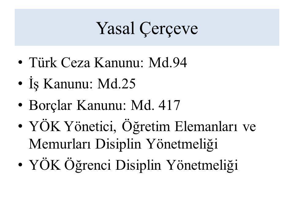 Yasal Çerçeve Türk Ceza Kanunu: Md.94 İş Kanunu: Md.25