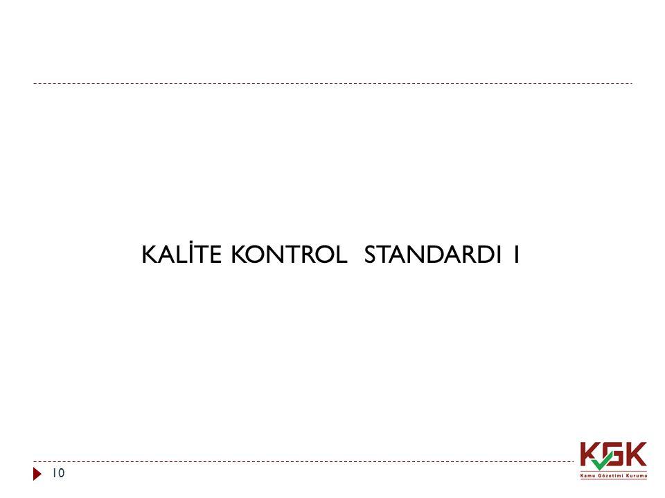 KALİTE KONTROL STANDARDI 1
