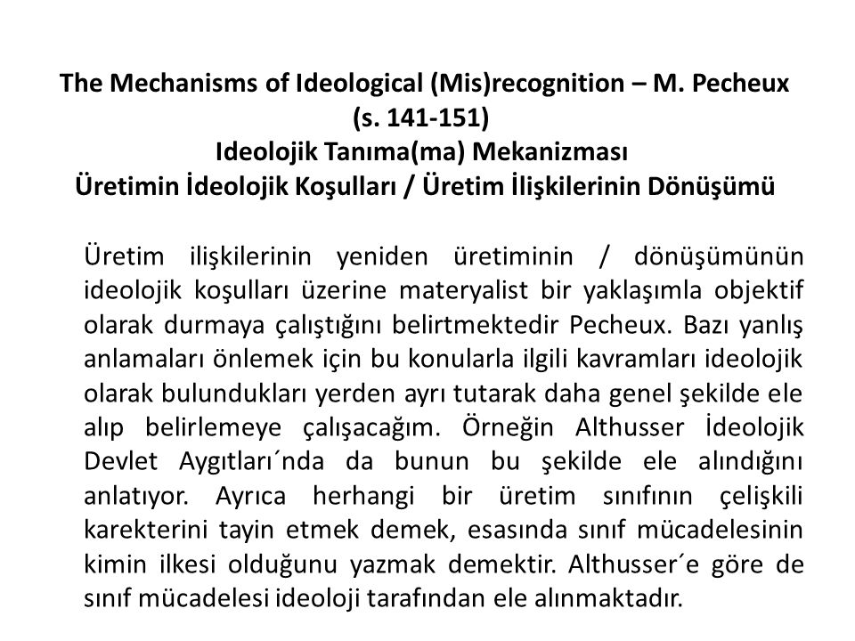 The Mechanisms of Ideological (Mis)recognition – M. Pecheux (s