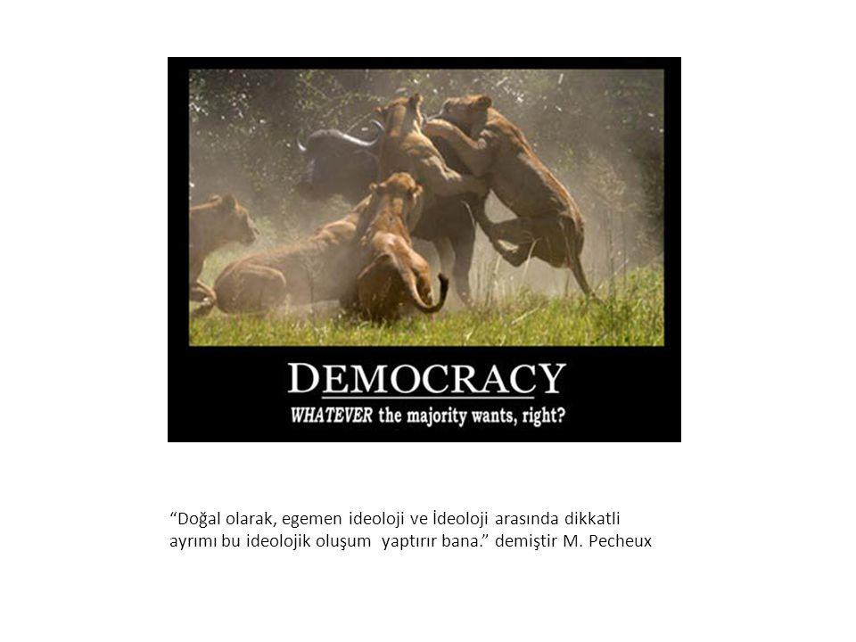 Doğal olarak, egemen ideoloji ve İdeoloji arasında dikkatli ayrımı bu ideolojik oluşum yaptırır bana. demiştir M.