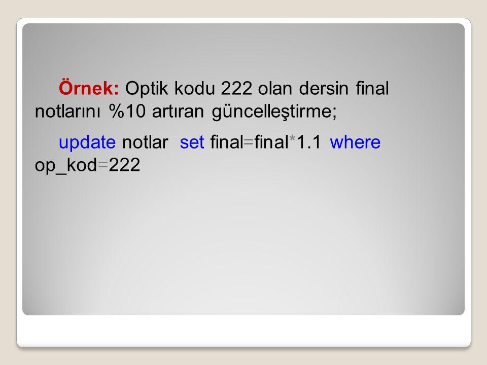 Örnek: Optik kodu 222 olan dersin final notlarını %10 artıran güncelleştirme;