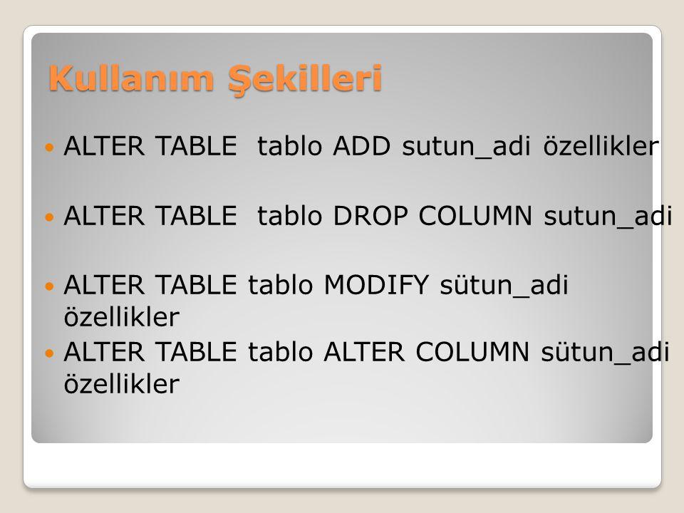 Kullanım Şekilleri ALTER TABLE tablo ADD sutun_adi özellikler
