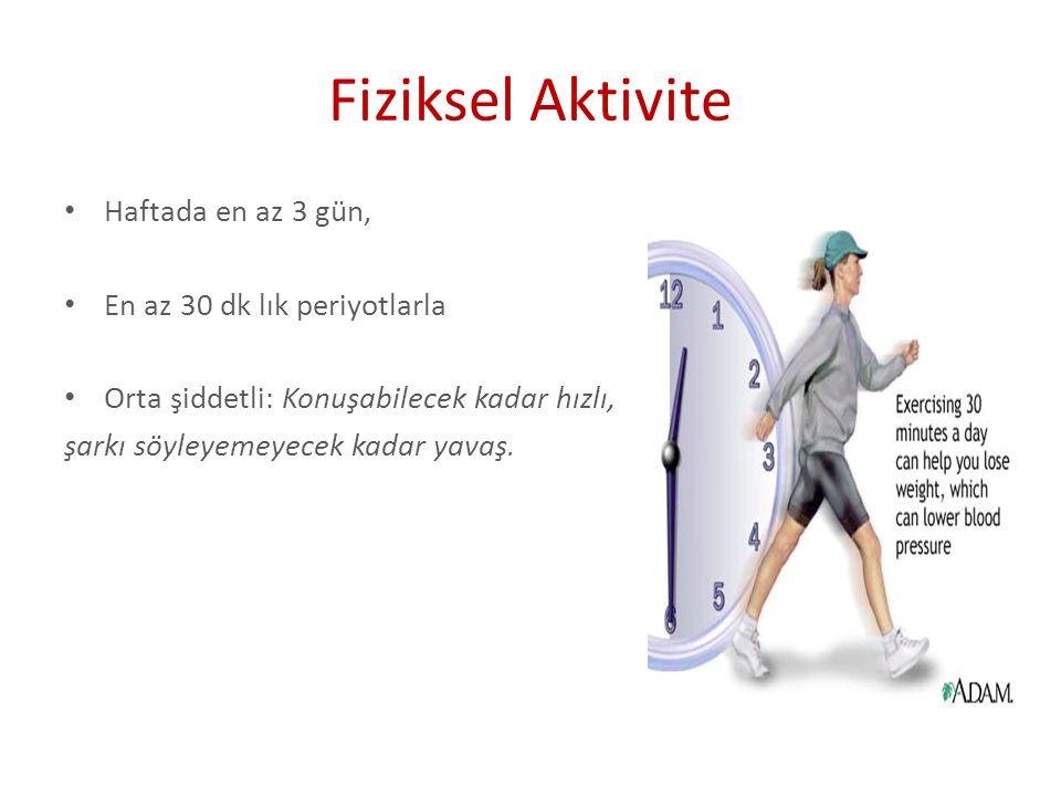 Fiziksel Aktivite Haftada en az 3 gün, En az 30 dk lık periyotlarla