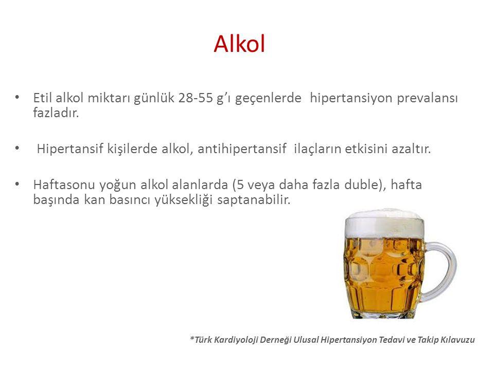 Alkol Etil alkol miktarı günlük 28-55 g'ı geçenlerde hipertansiyon prevalansı fazladır.