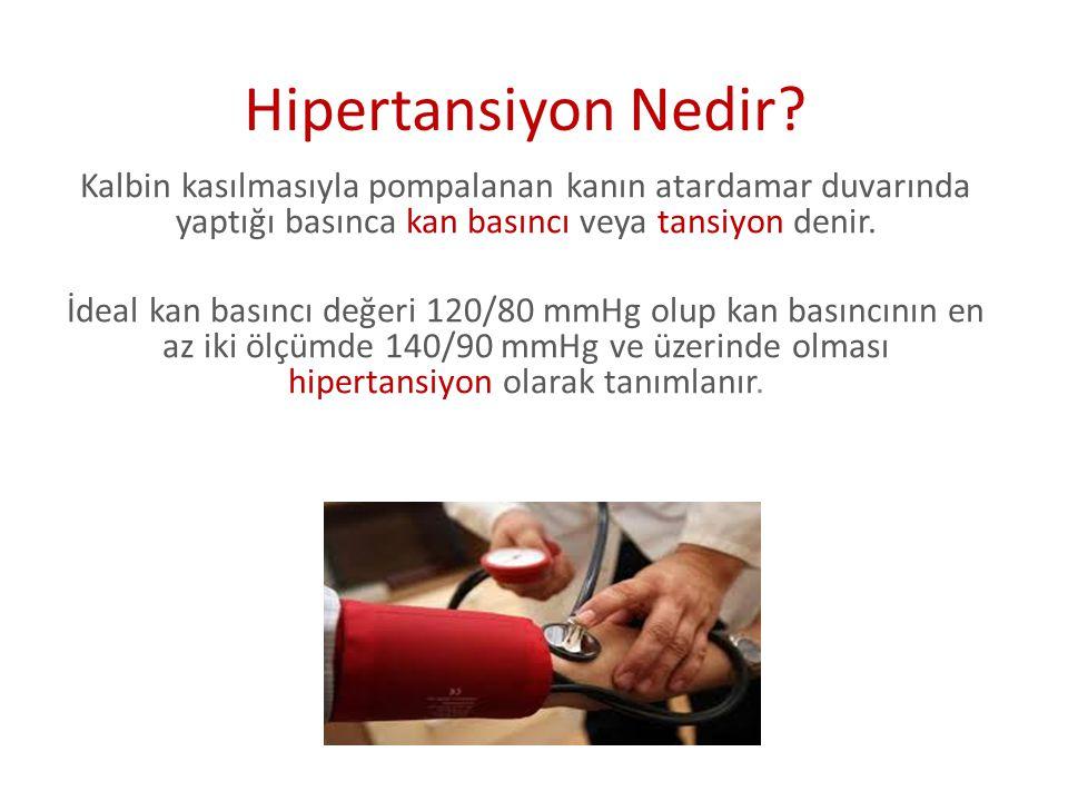 Hipertansiyon Nedir Kalbin kasılmasıyla pompalanan kanın atardamar duvarında yaptığı basınca kan basıncı veya tansiyon denir.
