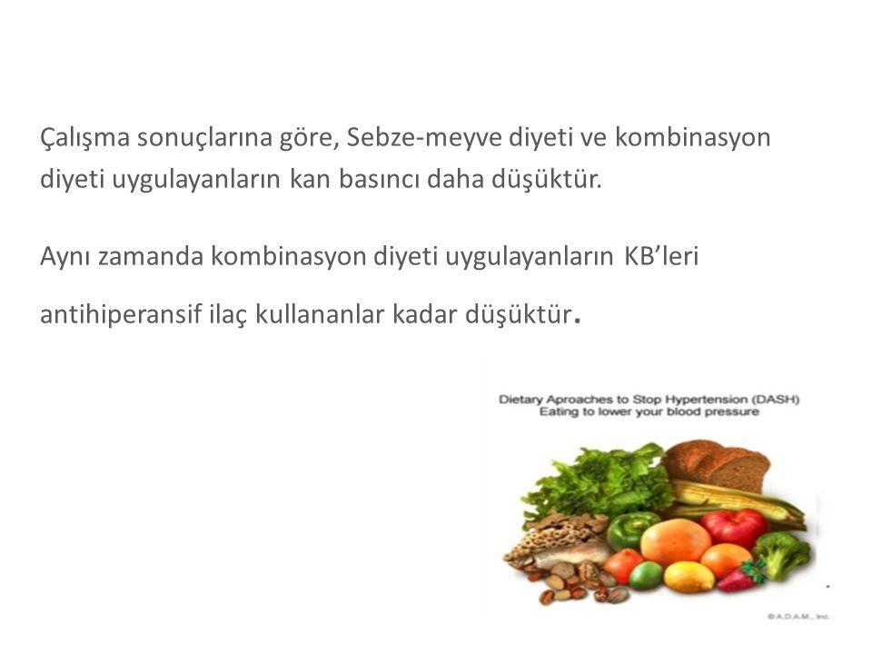 Çalışma sonuçlarına göre, Sebze-meyve diyeti ve kombinasyon