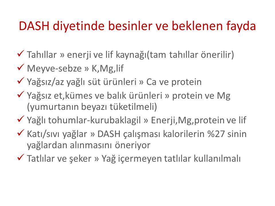 DASH diyetinde besinler ve beklenen fayda