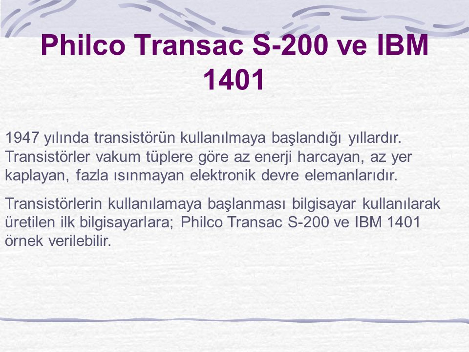 Philco Transac S-200 ve IBM 1401