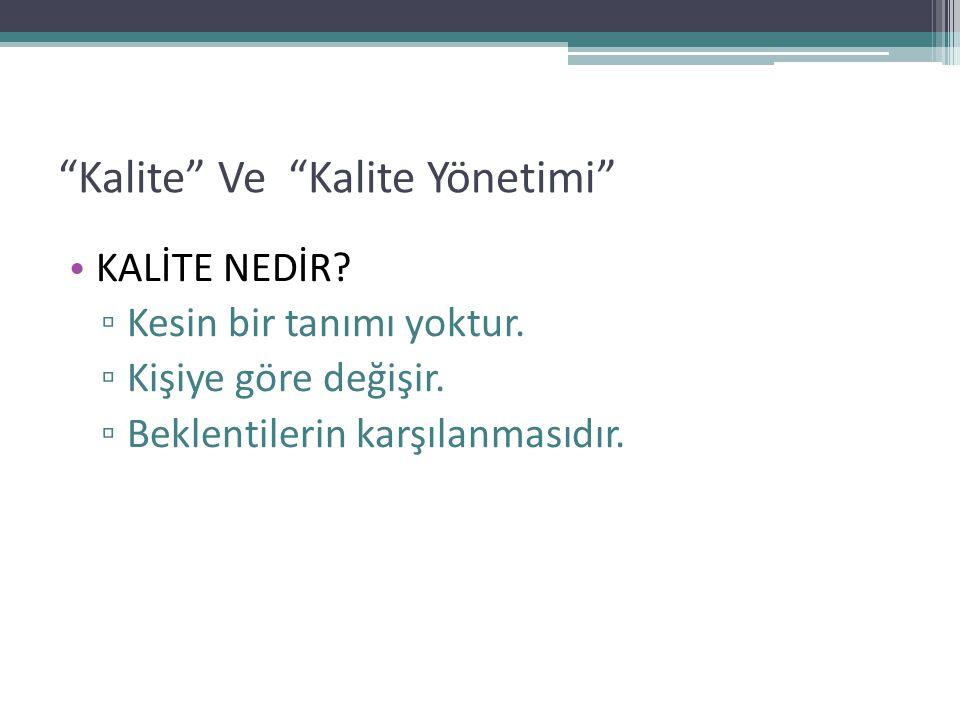 Kalite Ve Kalite Yönetimi