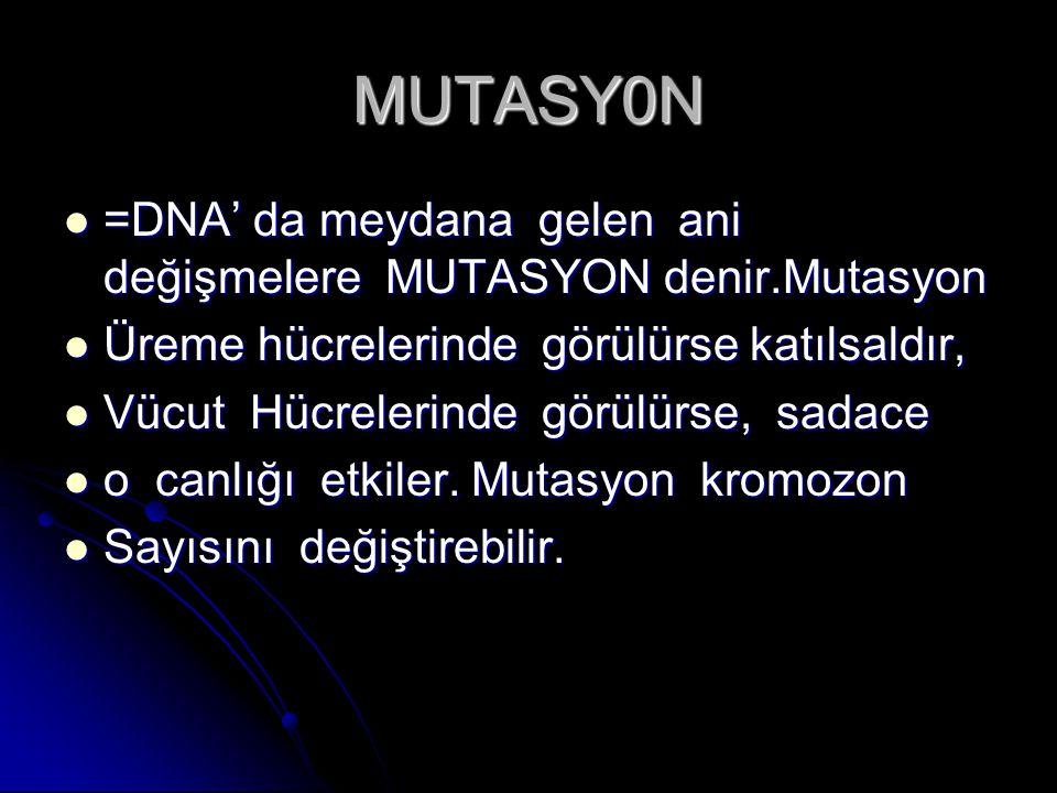 MUTASY0N =DNA' da meydana gelen ani değişmelere MUTASYON denir.Mutasyon. Üreme hücrelerinde görülürse katılsaldır,