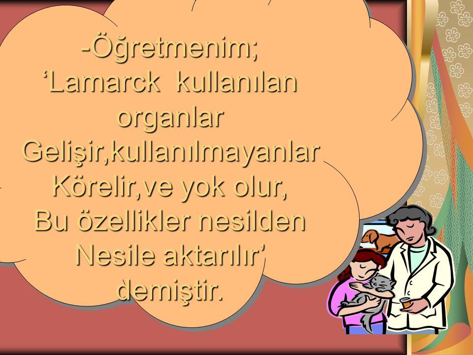 'Lamarck kullanılan organlar Gelişir,kullanılmayanlar