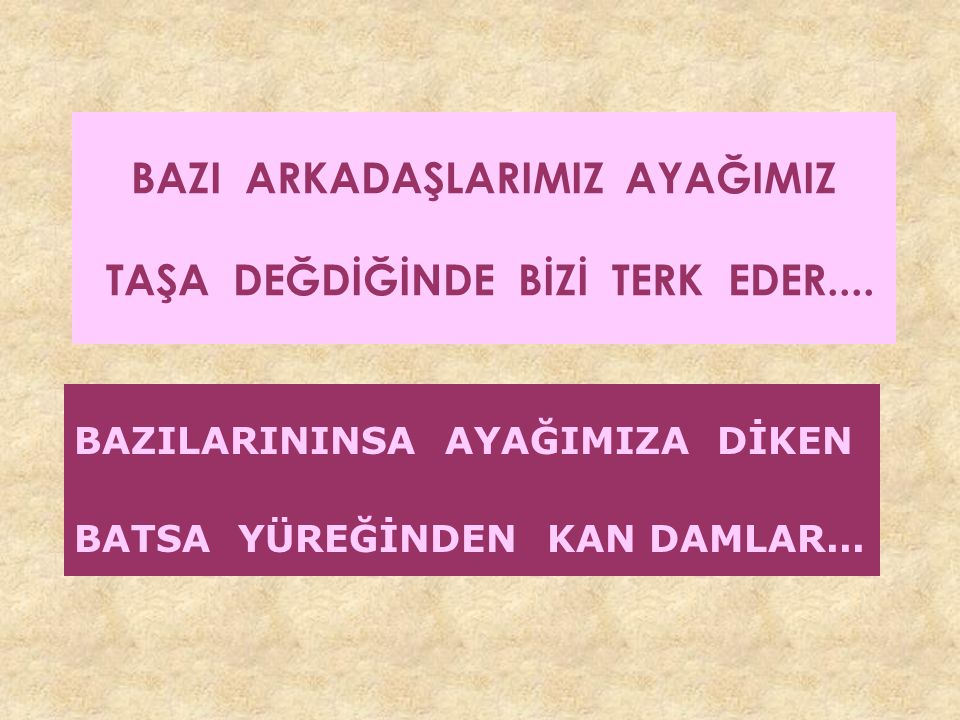 BAZI ARKADAŞLARIMIZ AYAĞIMIZ TAŞA DEĞDİĞİNDE BİZİ TERK EDER....