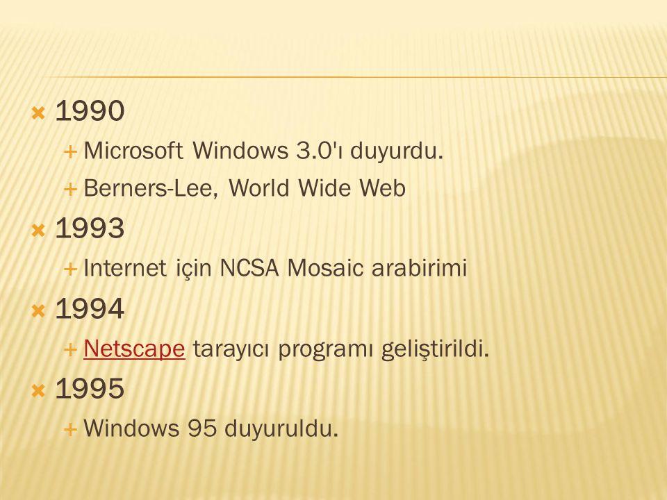 1990 1993 1994 1995 Microsoft Windows 3.0 ı duyurdu.