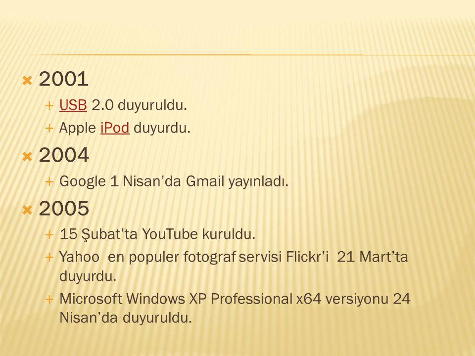 2001 2004 2005 USB 2.0 duyuruldu. Apple iPod duyurdu.