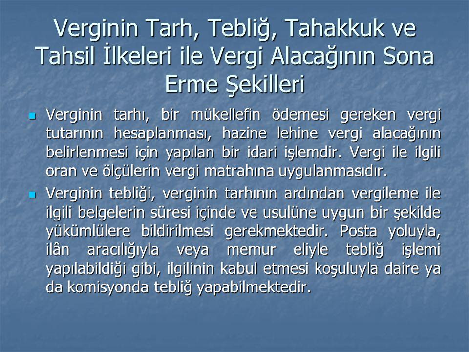 Verginin Tarh, Tebliğ, Tahakkuk ve Tahsil İlkeleri ile Vergi Alacağının Sona Erme Şekilleri