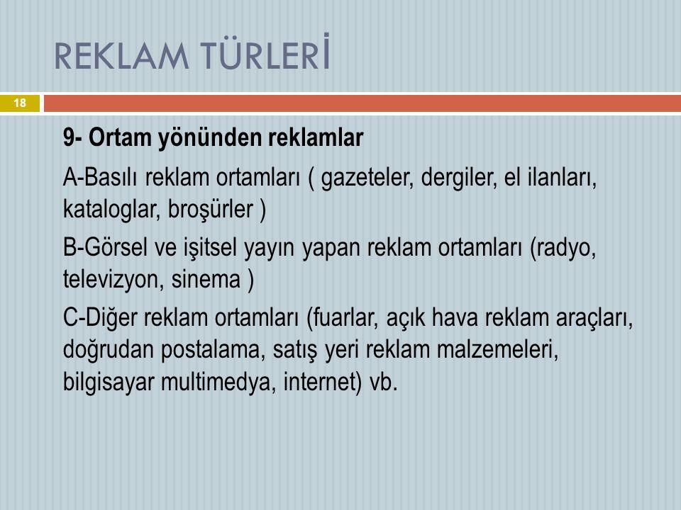 REKLAM TÜRLERİ 9- Ortam yönünden reklamlar