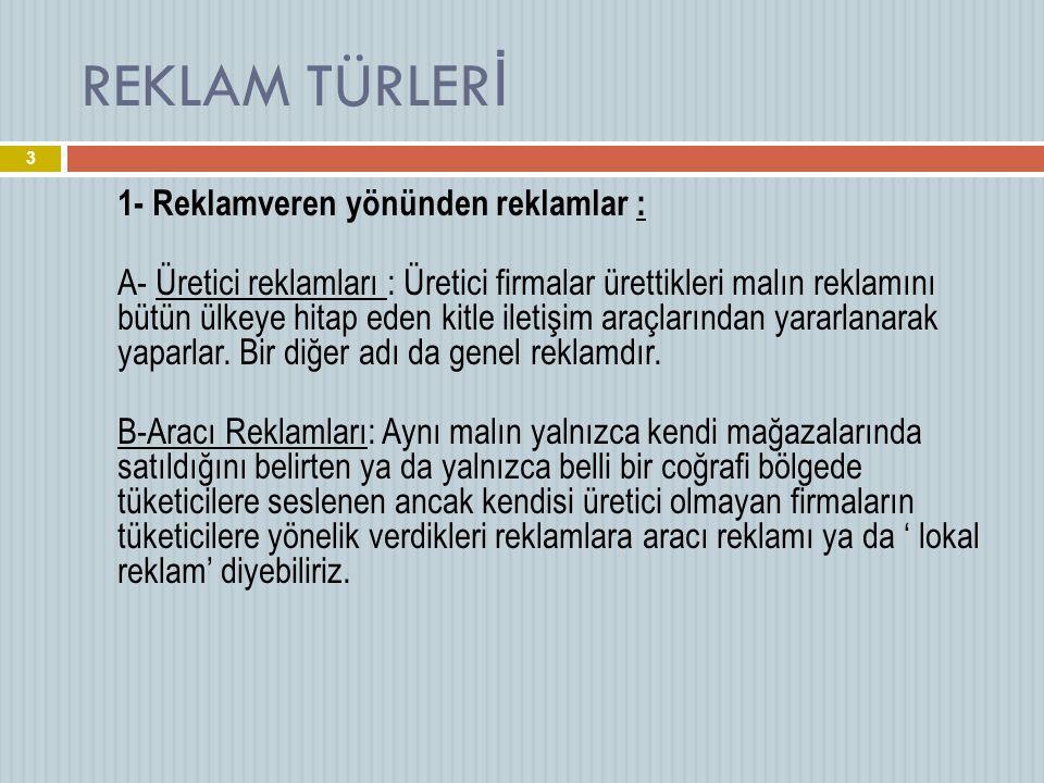 REKLAM TÜRLERİ 1- Reklamveren yönünden reklamlar :