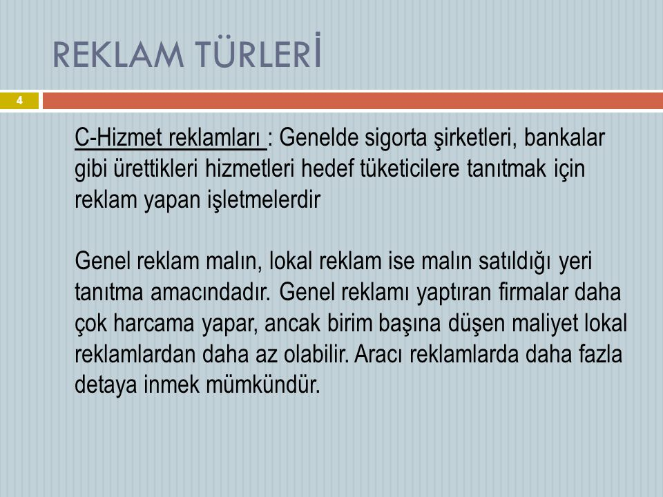 REKLAM TÜRLERİ