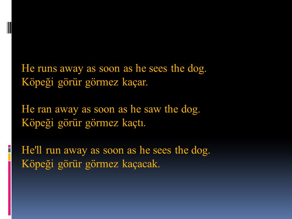 He runs away as soon as he sees the dog. Köpeği görür görmez kaçar